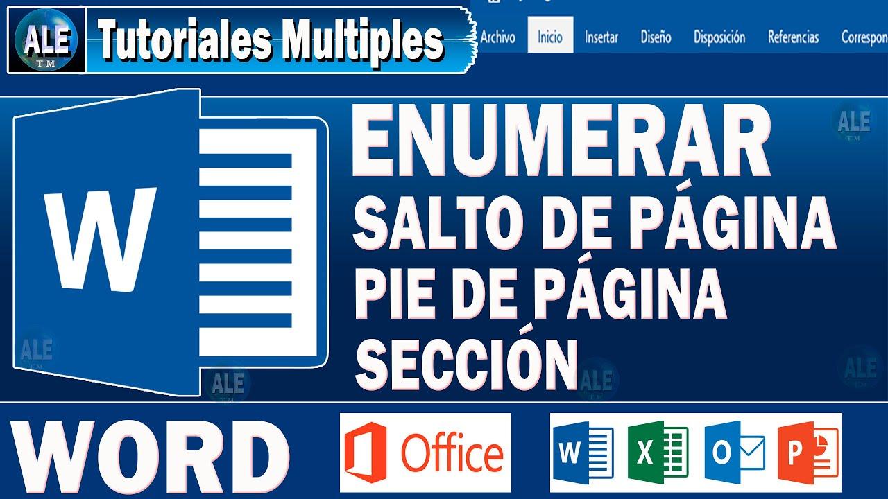 Curso Word 2016 | SALTO DE PÁGINA, PIE DE PAGINA | Como Enumerar ...