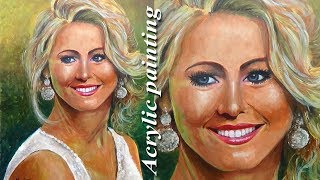 Acrylic portrait Painting   Girl Portrait painting with Acrylic paint