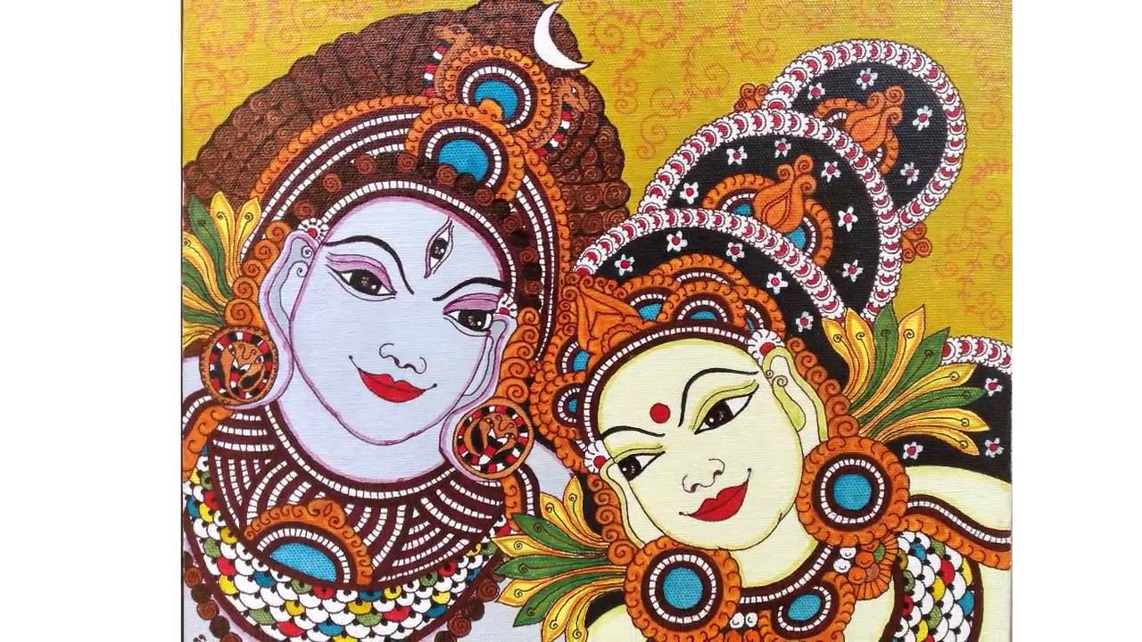 Kerala mural painting youtube for Cn mural designs