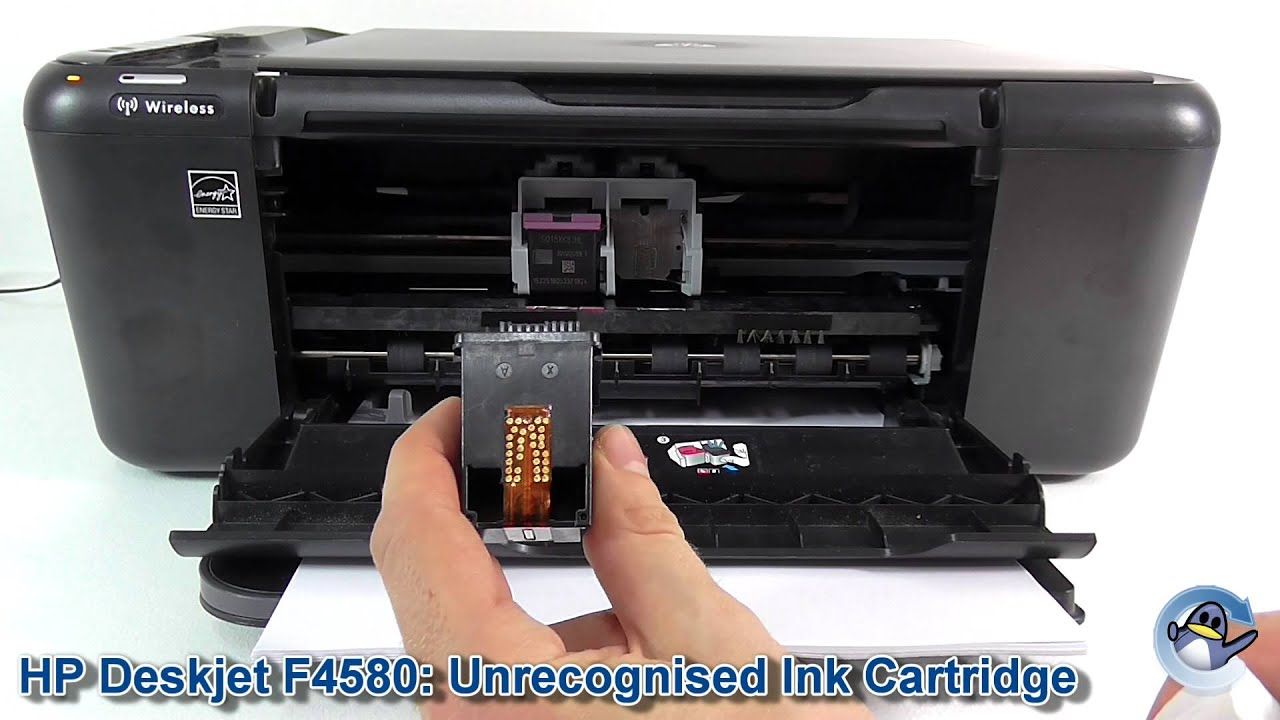 Hp Deskjet F4580 Unrecognised Ink Cartridge Youtube Tinta Printer 802 Colour Original