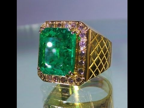Rare Unheated Emerald Ring 6 30 cts Yellow Gold 22K & Yellow
