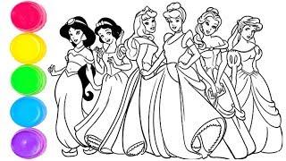 Disney Prensesleri Boyama |Prenses Simli Boyama ve Çizimi |Çocuklar İçin Kolay İngilizce