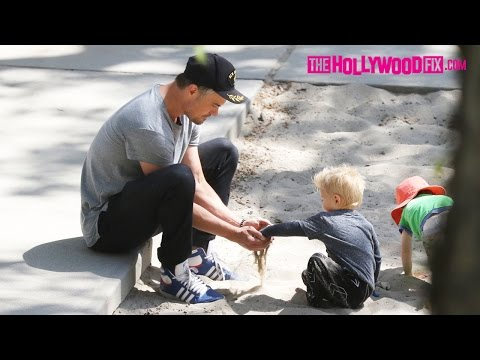 Josh Duhamel & His Son Axl Have A Blast At The Park Playing In The Sandbox 4.28.16