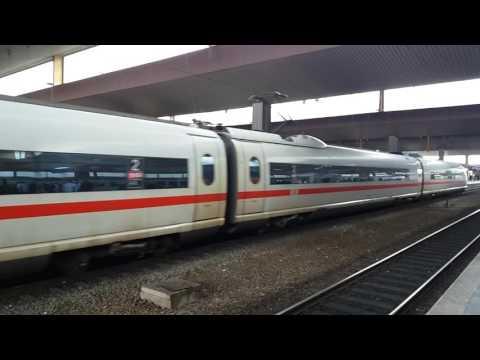 The high-speed train ICE 3 of Deutsche Bahn departing from Düsseldorf central station (Germany)