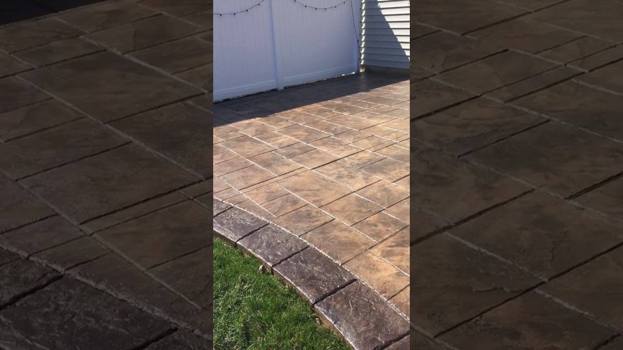 Brown Ashlar Slate With Border Stamped Concrete Youtube