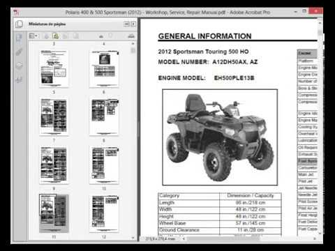 Polaris 400 And 500 Sportsman 2012 Service Manual Wiring Diagram Youtube