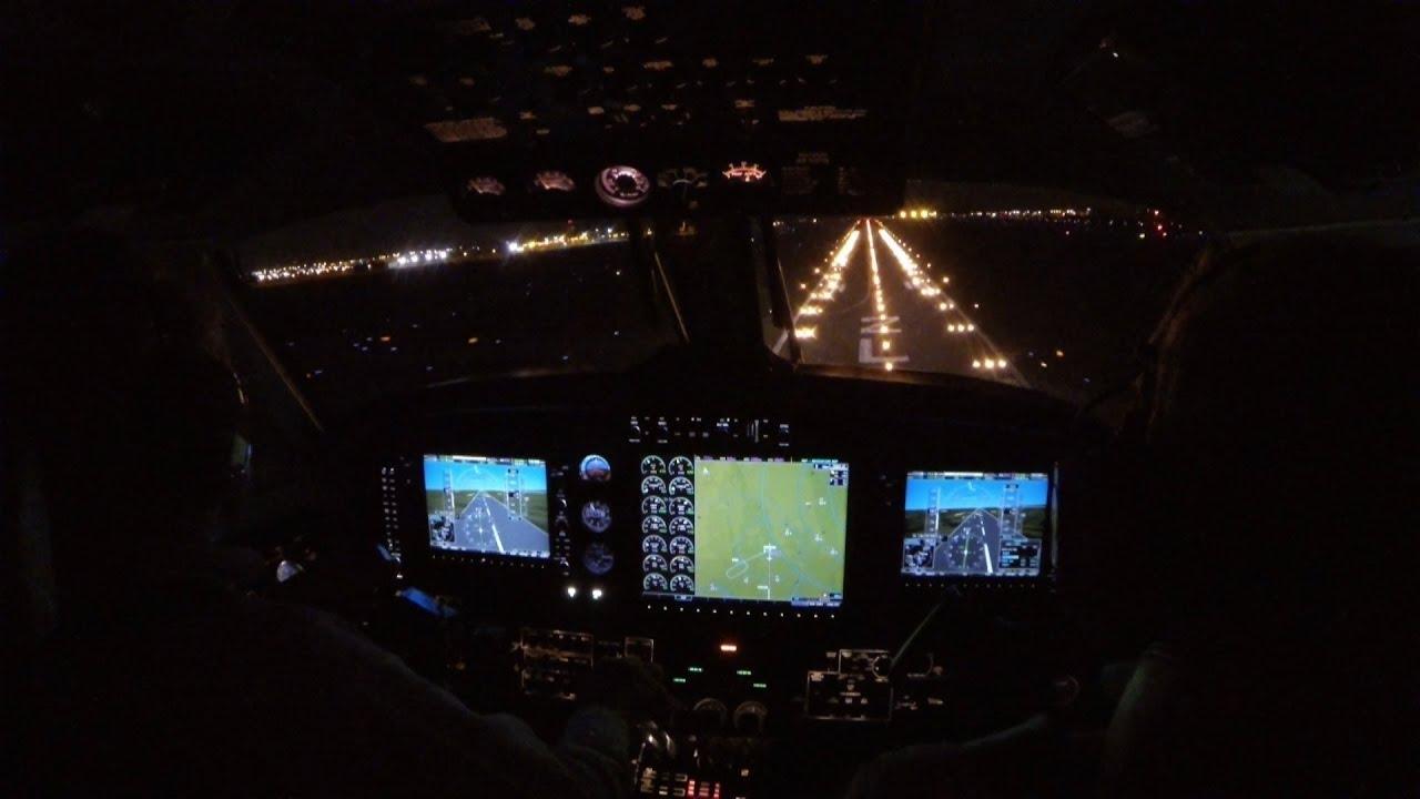 In Flight Video Night Landing Cockpit View King Air