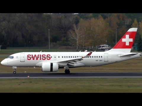 Swiss Bombardier CS100 HB-JBH LX968 Landing + Taxiing at Berlin Tegel Airport