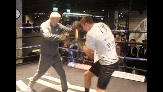 LIGHT HEAVYWEIGHT JAKE 'THE BLADE' BALL HAMMERS THE PADS WITH TRAINER JIM McDONNELL