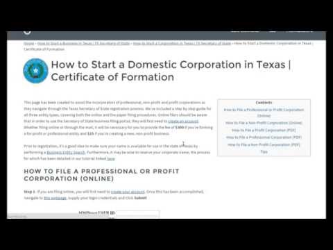 How to Start a Corporation in Texas | TX Secretary of State - YouTube