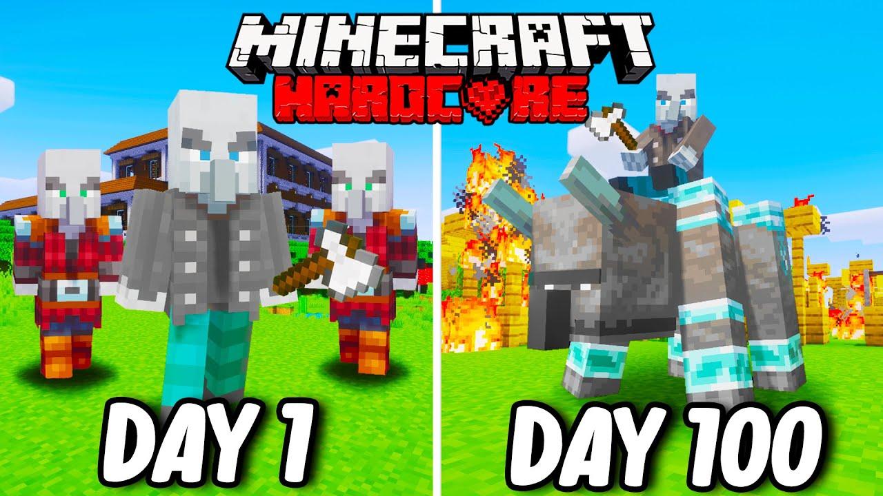 I Survived 100 Days as a VINDICATOR in Hardcore Minecraft... Minecraft Hardcore 100 Days
