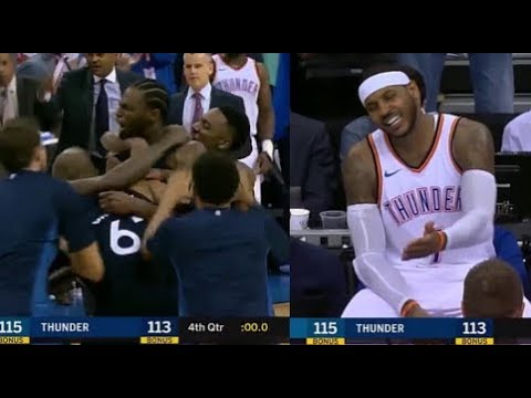Andrew Wiggins hits buzzer-beating game winner after Carmelo Anthony 3 pointer! - SICK