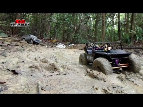 MUDDING! 10 RC trucks scale 4x4 offroad adventures mud water river crossing Subzero scx10 TF2 D90