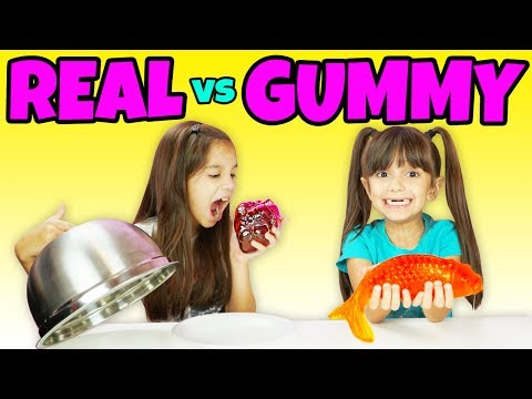 Real Food vs Gummy Food Challenge Part 6 - Gross Giant Gummy Candy