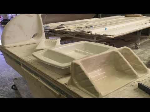 Cultured Granite Countertops in production and installed