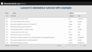 Laravel 5 - How to Implementing datatables tutorial using yajra package