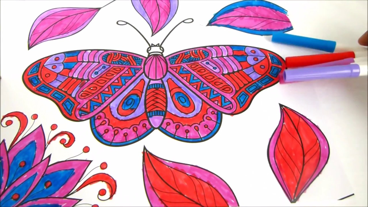 Butterfly and Flower coloring Pages - YouTube