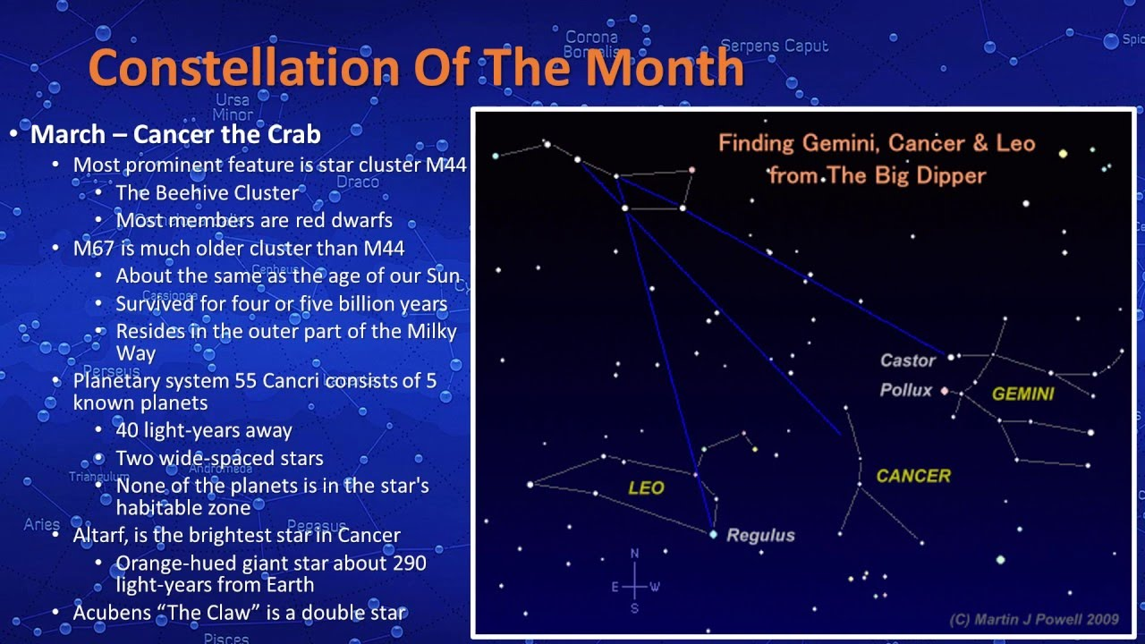 constellation of the month cancer march 2016 [ 1280 x 720 Pixel ]