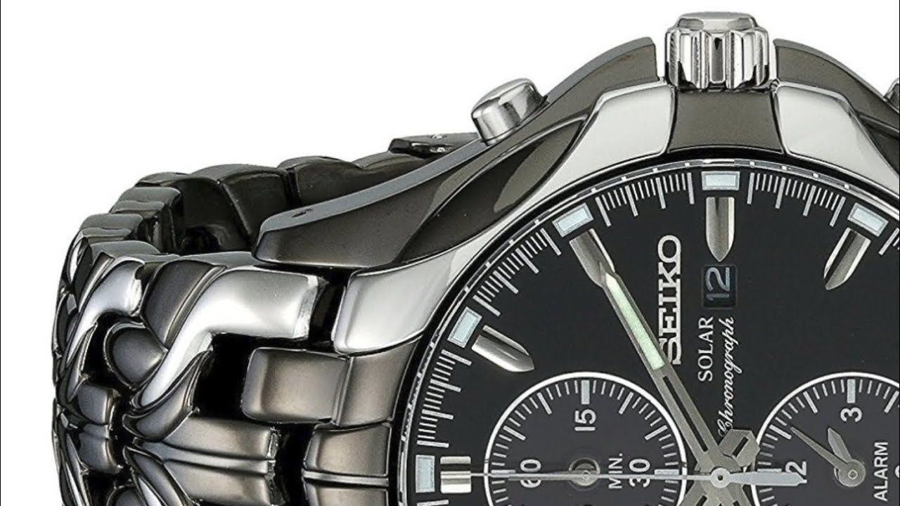 Seiko Men S Excelsior Ssc139 Black Ion Finish Solar Chronograph Watch
