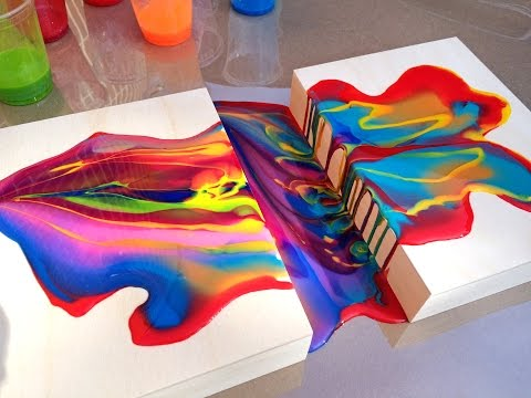 Acrylic Pouring Medium Connecting Two Wood Panels