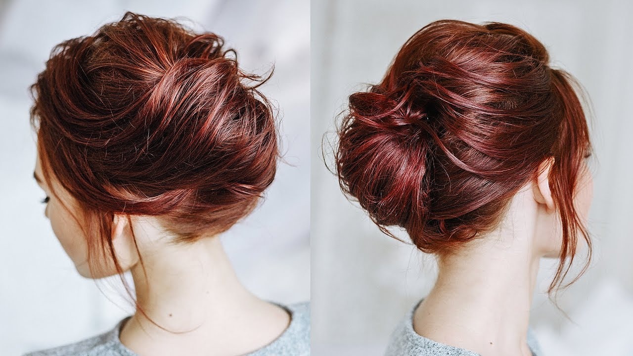 Messy french twist for short flat hair