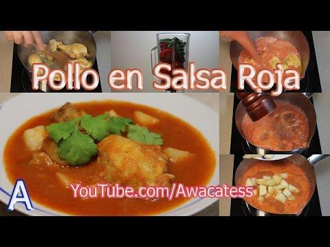 Pollo en Salsa Roja con Papas. Recetas de Comidas Mexicanas Faciles de Preparar economicas y rapidas