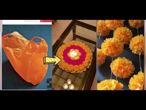 DIY/Easy Plastic Marigold Flowers/From Plastic Carry Bags /Pom Pom Marigold Flowers making.
