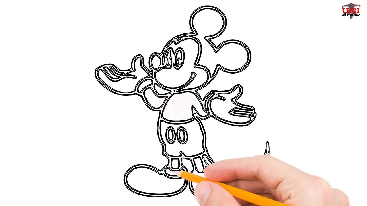 How To Draw Mickey Mouse Step By Easy For Beginners Kids Simple Disney Drawing Tutorial