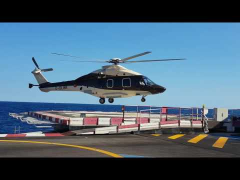 EC 175 approaching platform alpha, Monaco heliport. Monacair