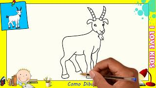 Como dibujar una cabra FACIL paso a paso para niños y principiantes 4