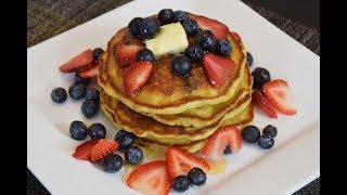 Receta Saludable Hotcakes de Avena con Arandanos Azules, Facil y rica
