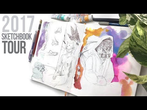 2017 Sketchbook Tour // Life Drawing, Watercoloor, Gouache in my Travelogue Watercolor Journal