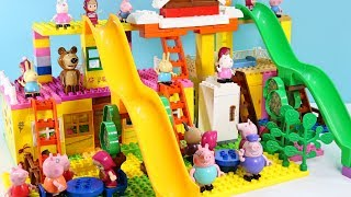 Peppa Pig Blocks Mega House LEGO Creations Sets With Masha And The Bear Legos Toys For Kids #43