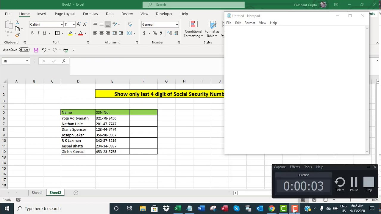 Show only last 20 digits of Social Security Number SSN in Excel