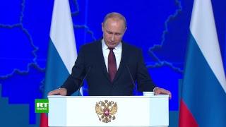 Vladimir Poutine tient son discours devant l'Assemblée fédérale russe