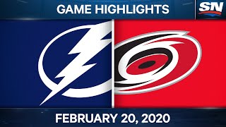 NHL Game Highlights  Lightning vs. Hurricanes – Feb. 20, 2021