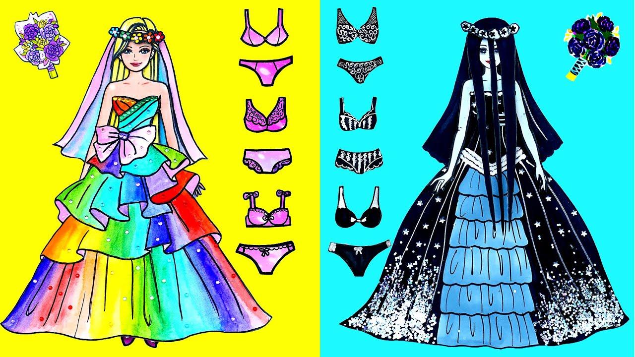 Paper Dolls Dress Up - Wedding Princess & Prince Dress Handmade Quiet Book - Barbie Story & Crafts