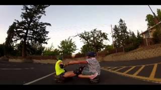 Skateboard catamaran crash