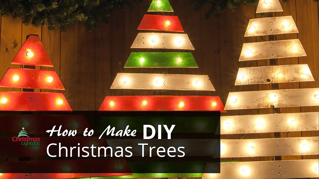 diy christmas trees with marquee lights youtube