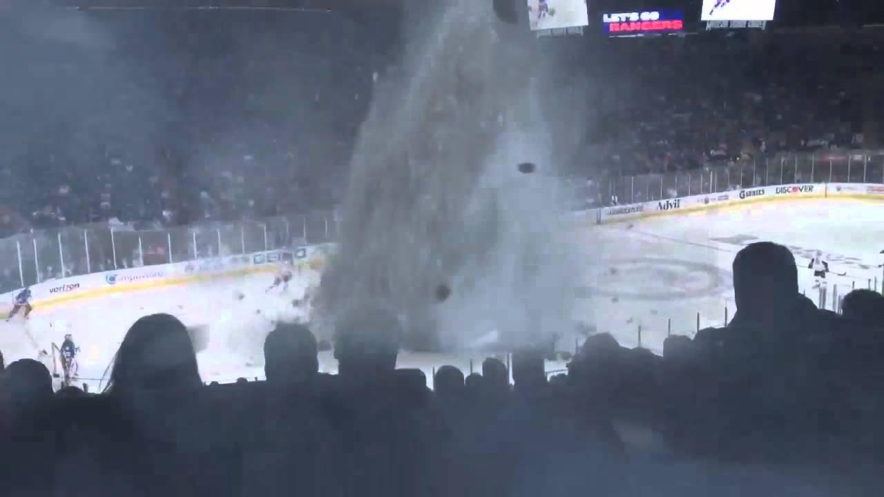 Tornado at hockey game - YouTube