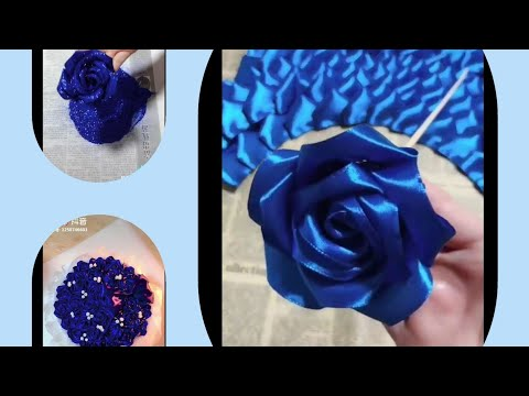DIY RIBBON ROSE.