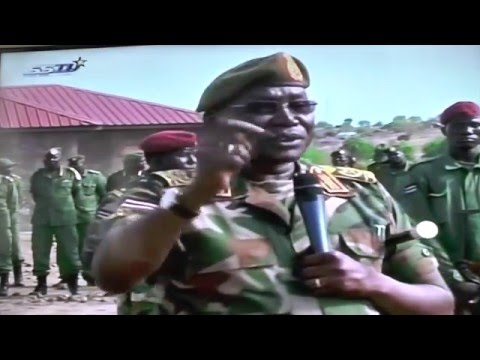 Gen. Paul Malong Awan addressing SPLM-io Soldiers in Juba, April 2016