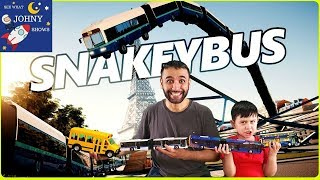 Johny Shows Snakey Bus Game Driving & Crashing Transit Bus And School Bus