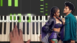 Cardi B & Bruno Mars - Please Me (Piano Tutorial Lesson)