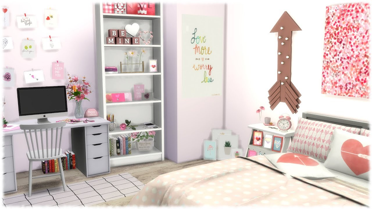 Valentines Day Bedroom The Sims 4: Speed Build -- VALENTINES DAY THEMED BEDROOM