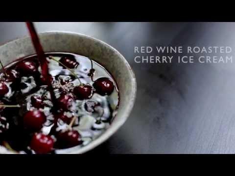 Red Wine Roasted Cherry Ice Cream With Toasted Walnuts & Dark Chocolate