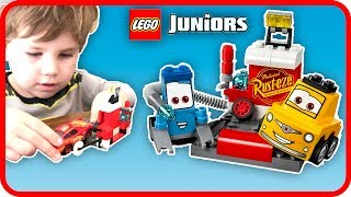 LEGO Juniors Cars 3 Sets Guido and Luigi's Pit Stop - Lego Cars 3 Toy Review - Ryan's Playroom