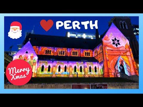 PERTH: Kids Go Crazy For Christmas 🎅🎄 Light Show On Walls Of SAINT GEORGE (Australia)