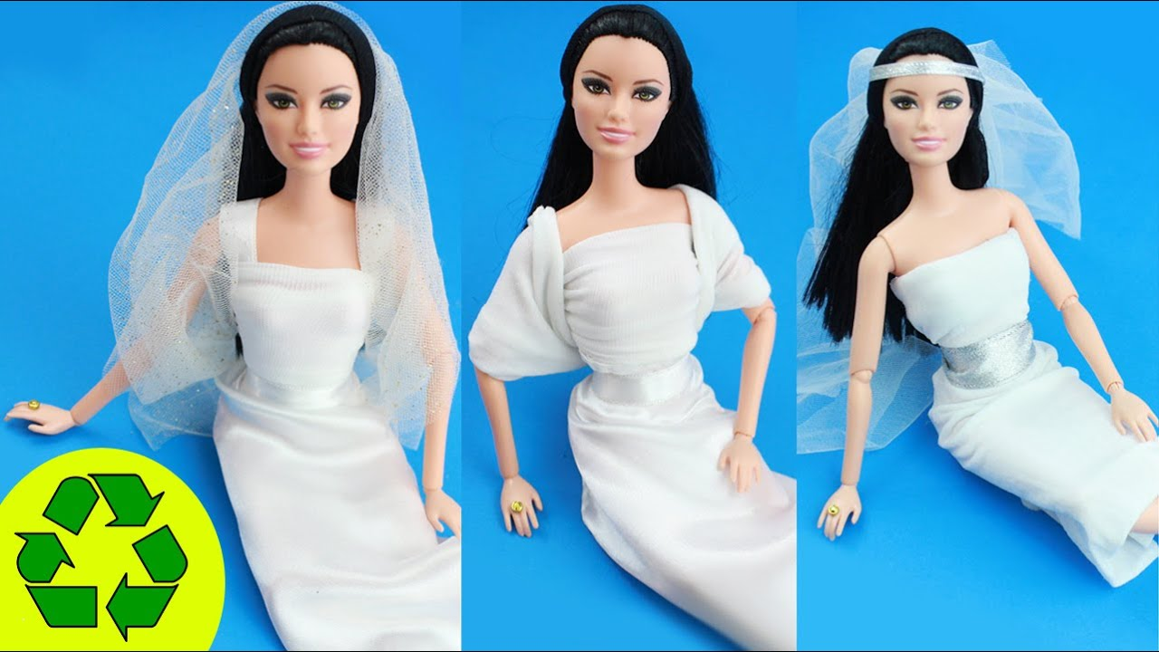 No Sew, No Glue Doll Wedding Dresses - Easy Doll
