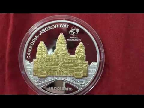 3D cambodia angkor wat pure gilded silver coin